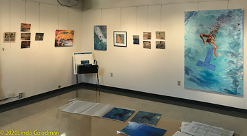 Installation view of Goodman monoprints and painting